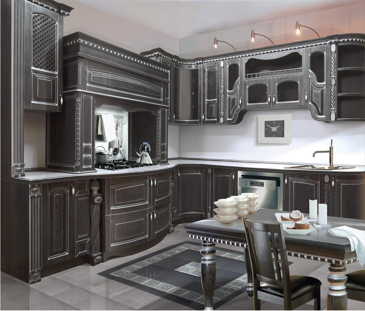 Кухня классическая черная с патиной