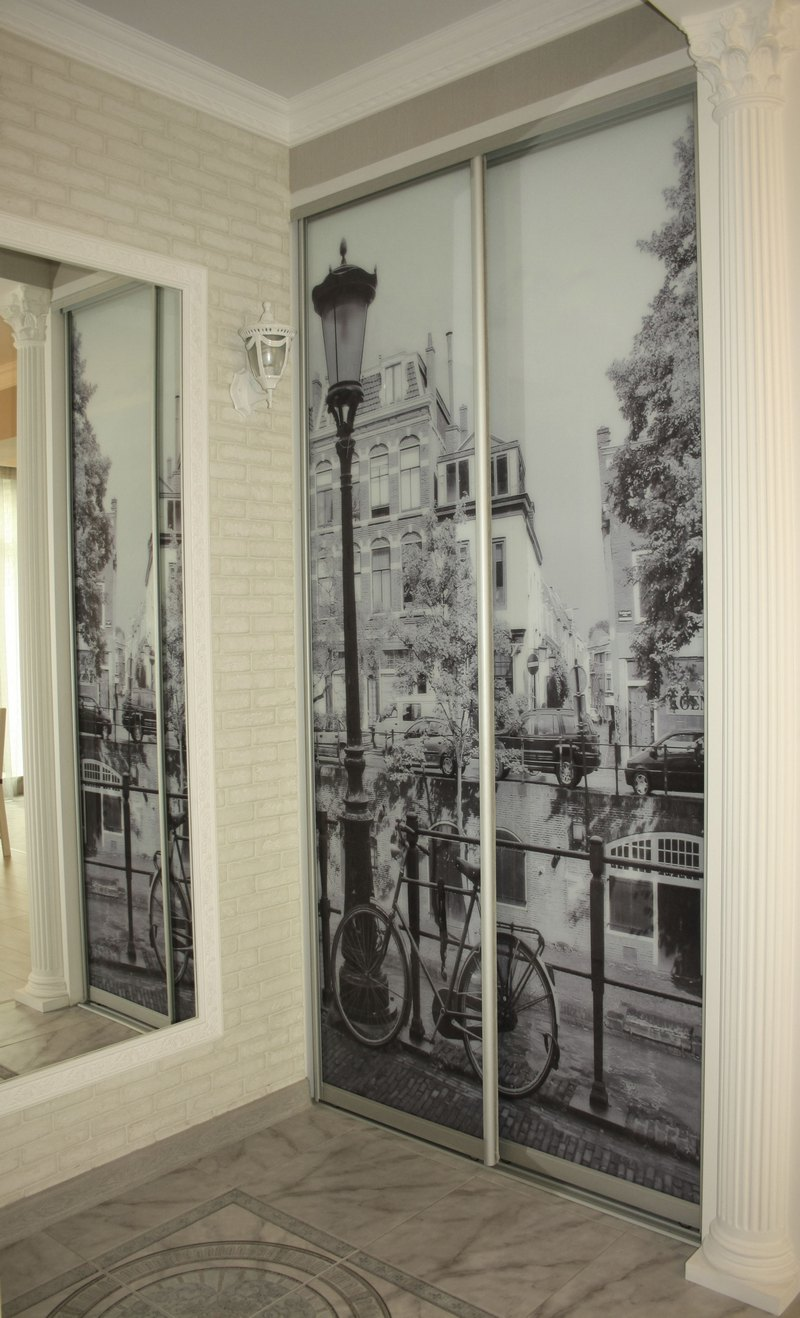 Шкаф-купе двери фотопечать с зеркалом