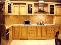 Кухня угловая ясень с патиной