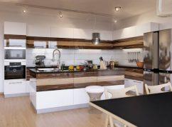 Кухня с крашенными фасадами и шпон вставка