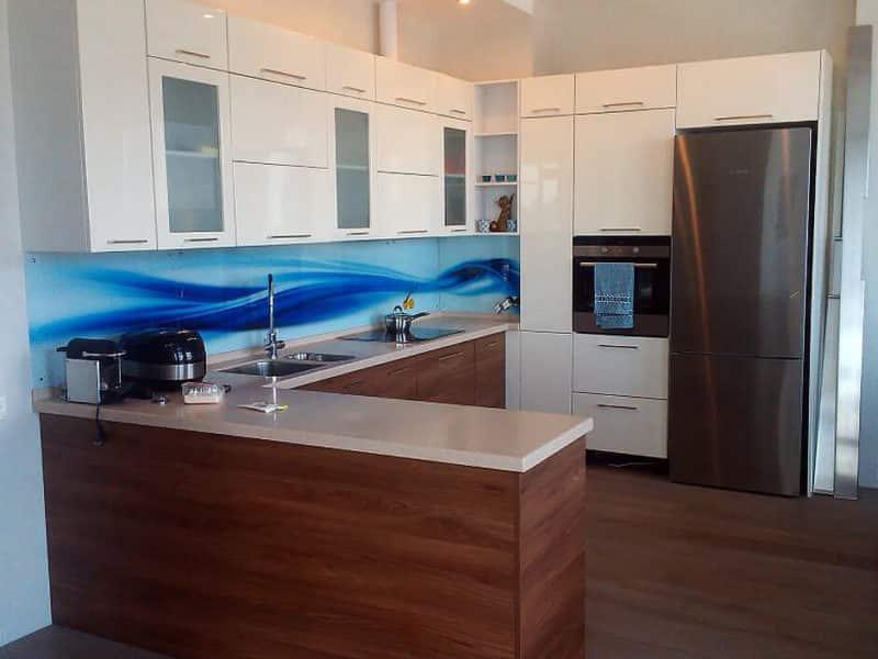 Кухня пластик и стеновая панель скинали-фотопечать